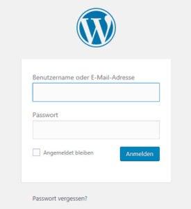 WordPress Admin Anmeldung