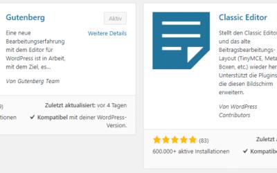 Gutenberg-Editor vor Update auf WordPress 5.0 deaktivieren